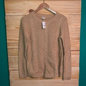 NWT J Crew Tan Popcorn Cable Knit Sweater Brown